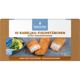 followfish Kabeljau-Fischstäbchen, 10 Stück, 250 g